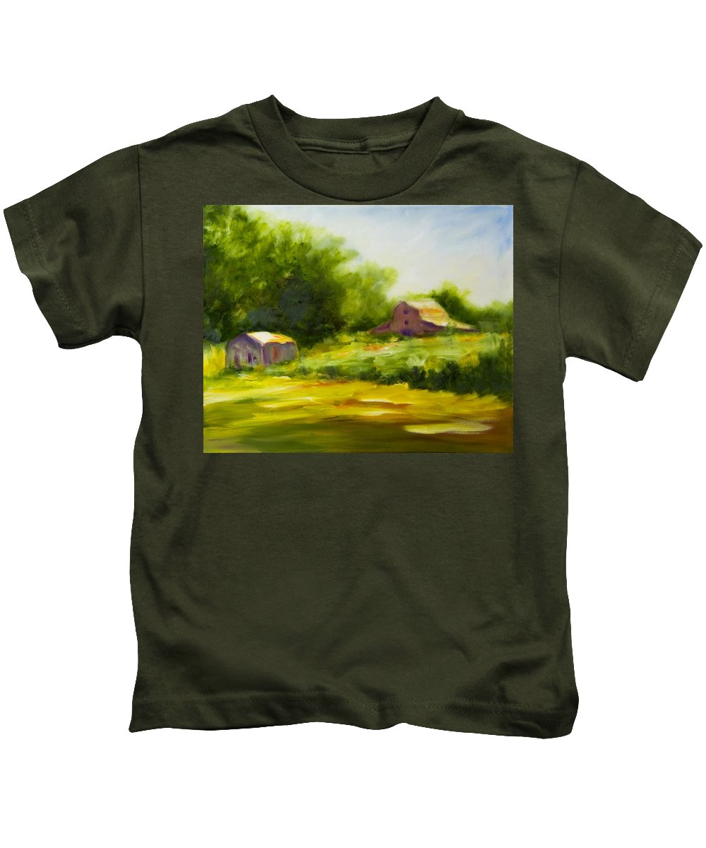 Landscape In Green Kids T-Shirt featuring the painting Courage by Shannon Grissom
