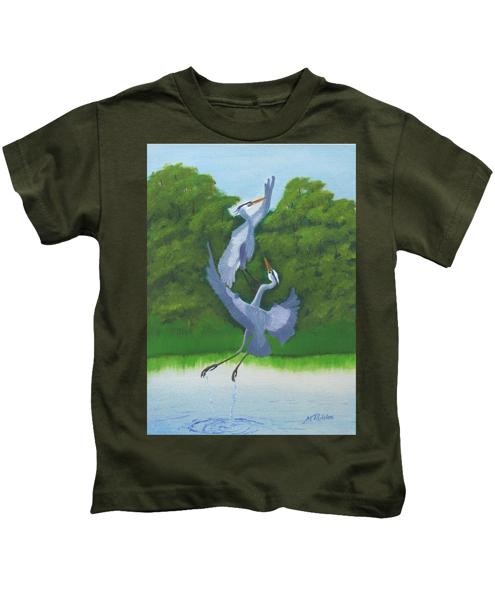 Great Blue Herons Kids T-Shirt featuring the painting Courtship Dance by Mike Robles