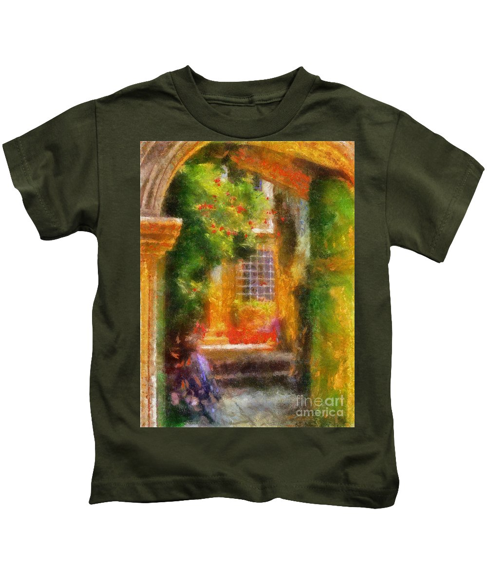 Courtyard Kids T-Shirt featuring the photograph Courtyard In Cavtat by Lois Bryan