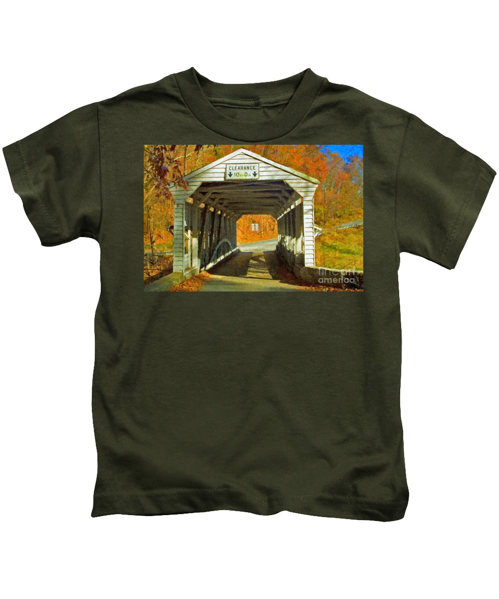 Covered Bridge Revolutionary Civil War Impasto Kids T-Shirt featuring the photograph Covered Bridge Impasto Oil by David Zanzinger