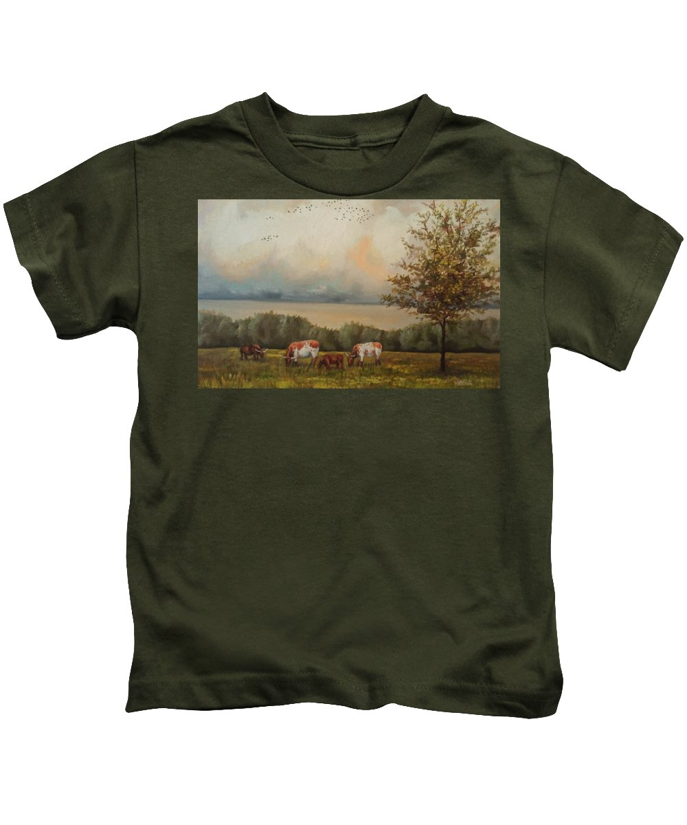 Landscape Kids T-Shirt featuring the painting Cow Field by Jay Willbur
