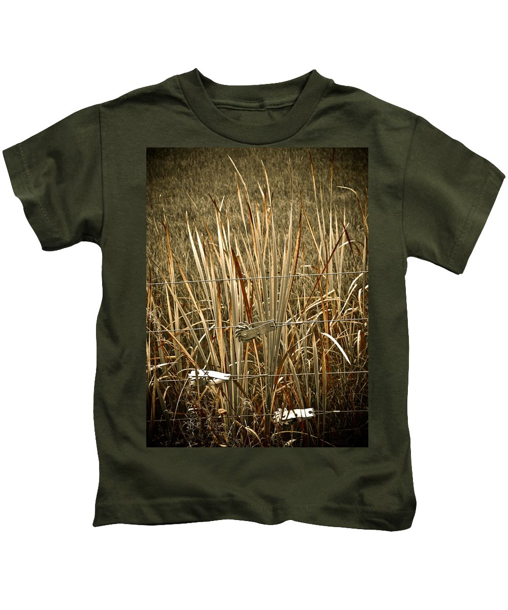 Americana Kids T-Shirt featuring the photograph Cowboy Fence by Marilyn Hunt