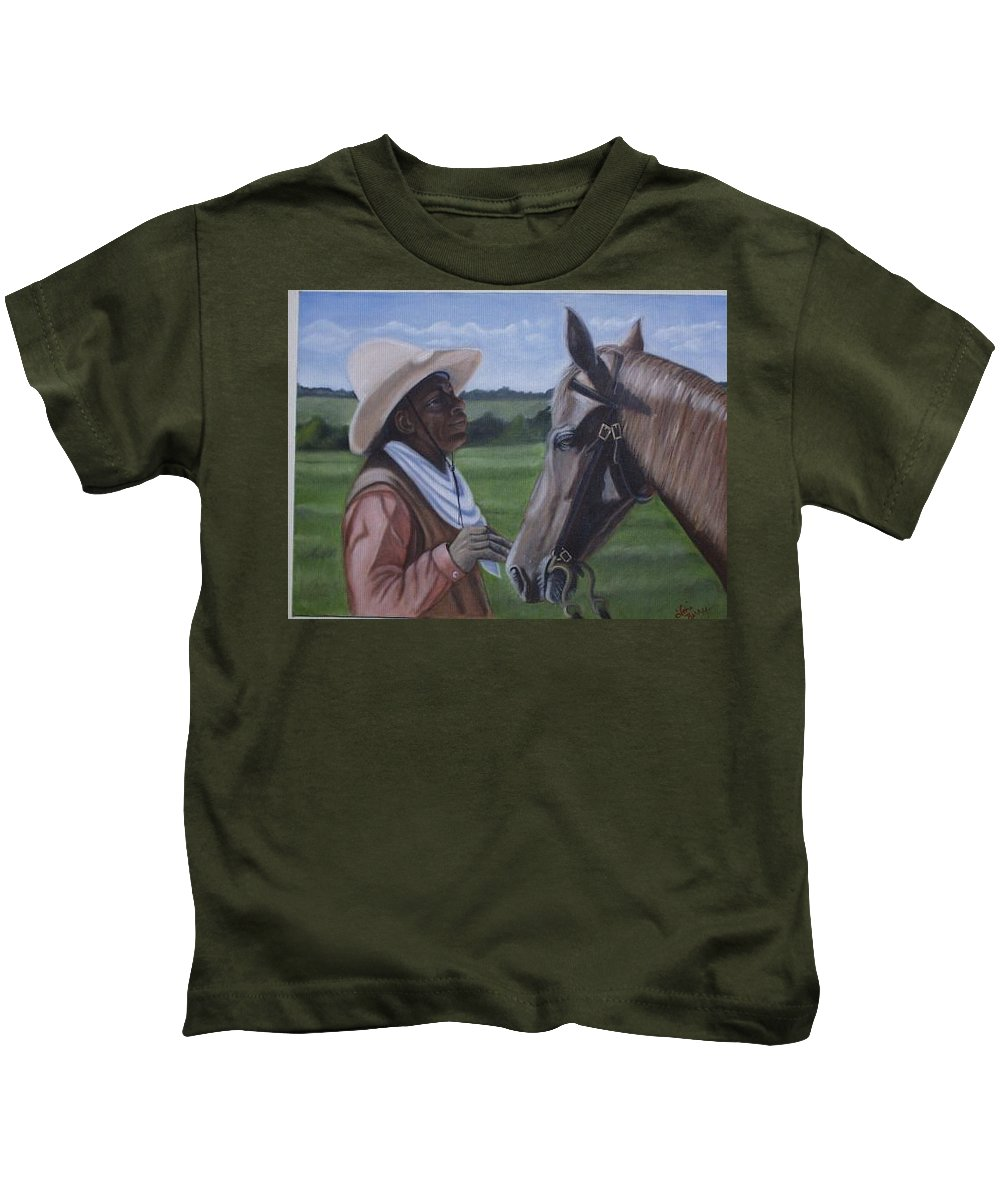 Portrait Kids T-Shirt featuring the painting Cowboy2 by Toni Berry