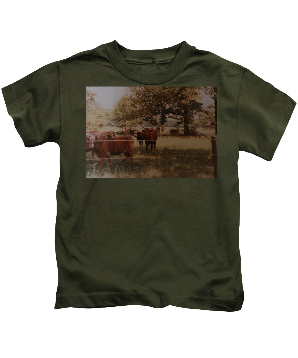 Cows Kids T-Shirt featuring the photograph Cows by Rob Hans