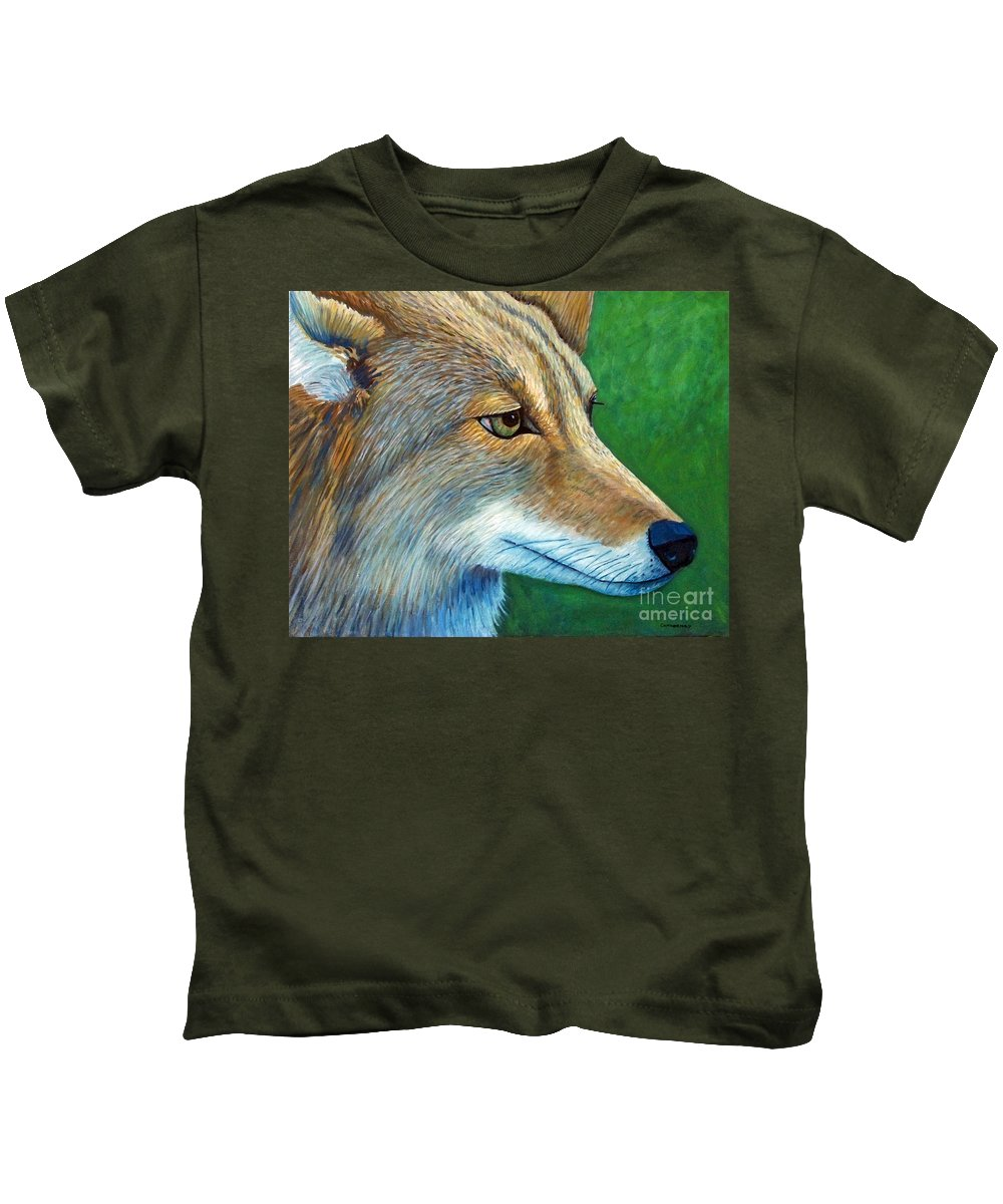 Coyote Kids T-Shirt featuring the painting Coyote Logic by Brian Commerford