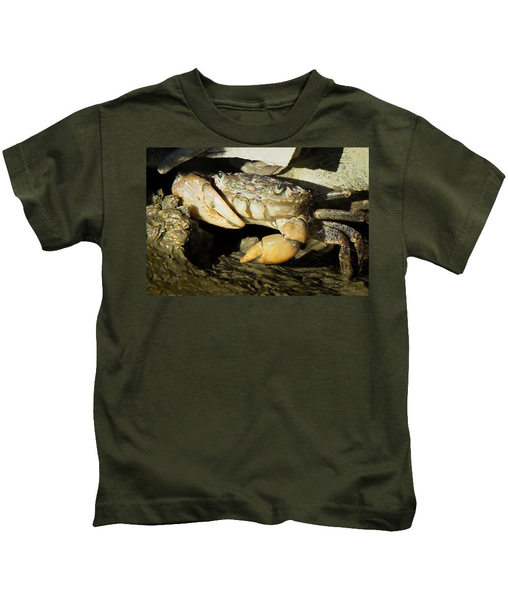 Crab Kids T-Shirt featuring the photograph Crabby by Bob Stevens