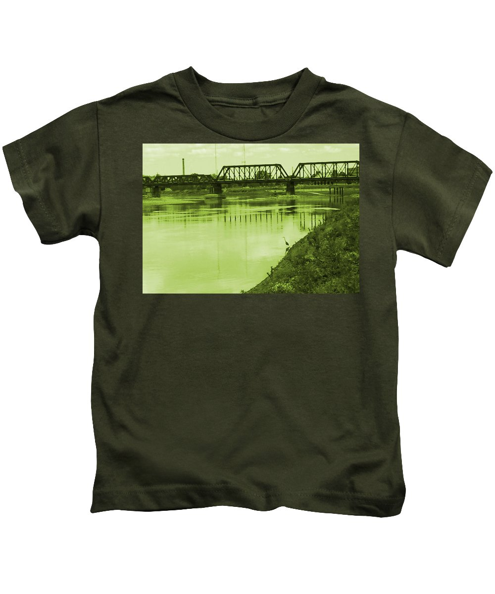 Photo Kids T-Shirt featuring the photograph Crane At The River by James Bowman