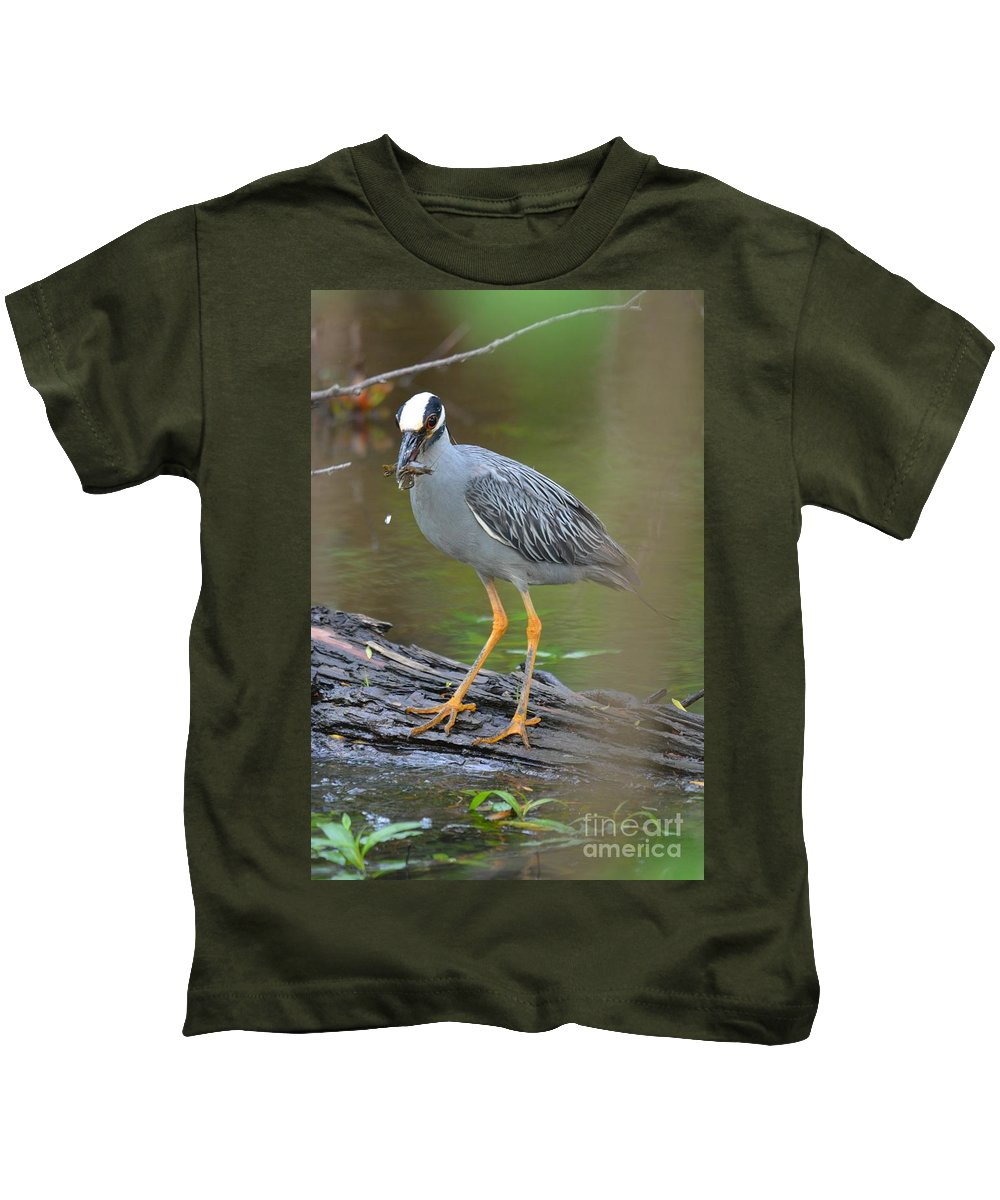 Heron Kids T-Shirt featuring the photograph Crayfish Catch by Deanna Cagle