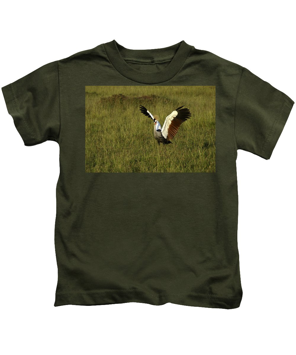 Africa Kids T-Shirt featuring the photograph Crowned Crane Display by Michele Burgess