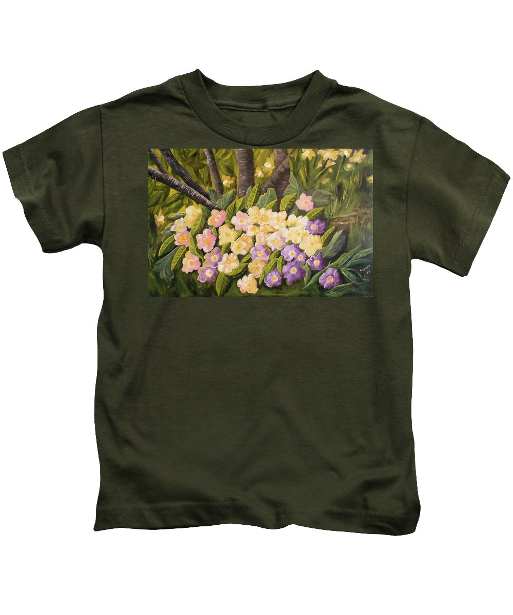 Floral Kids T-Shirt featuring the painting Crystal's Primroses by Lahoma Nally-Kaye