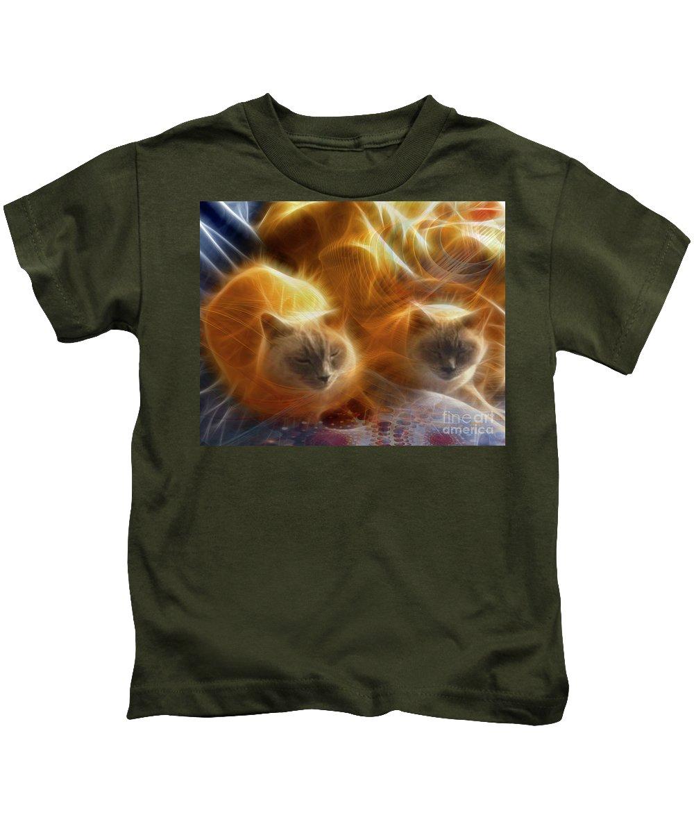 Cuddle Buddies Kids T-Shirt featuring the digital art Cuddle Buddies by John Beck
