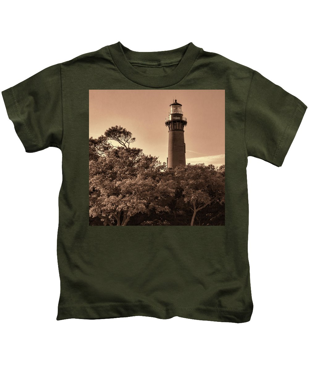 Currituck Beach Lighthouse - Sepia Kids T-Shirt featuring the photograph Currituck Beach Lighthouse - Sepia by Phyllis Taylor