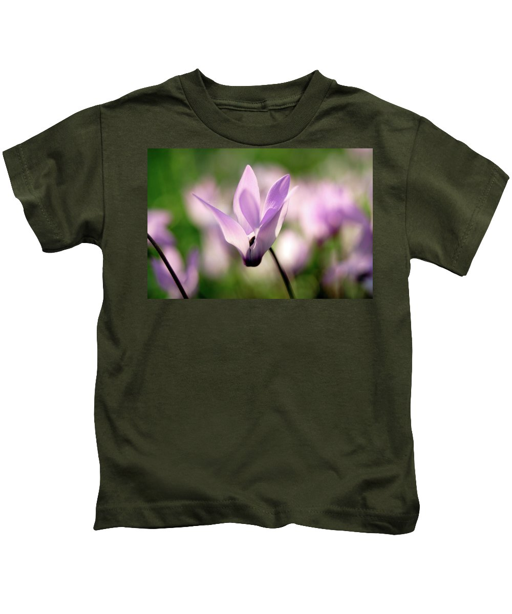 Cyclamen Persicum Kids T-Shirt featuring the photograph Cyclamen Persicum Persian Violets by PhotoStock-Israel