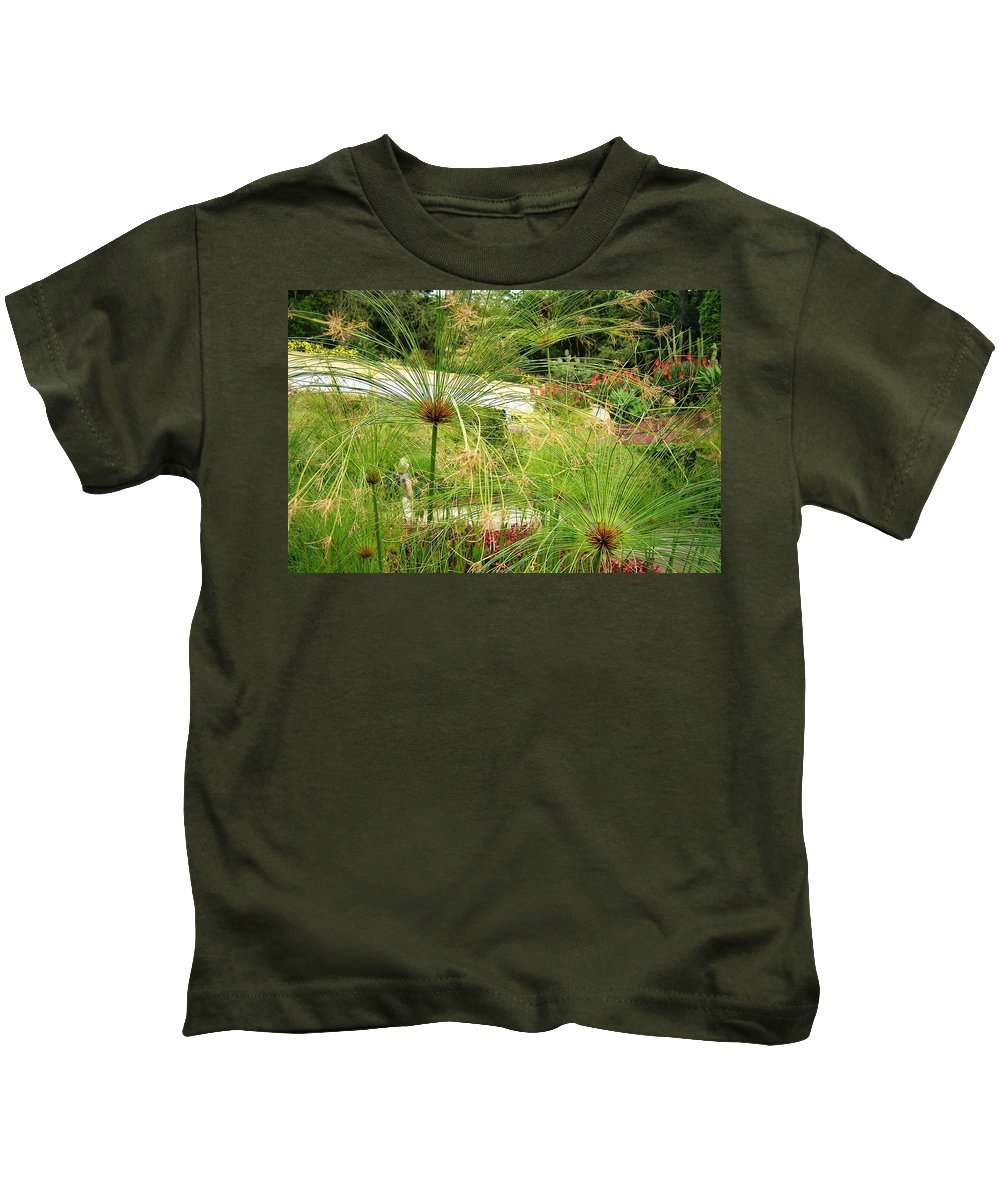Landscape Kids T-Shirt featuring the photograph Cyperus Papyrus - Bulrush by Valerie Ornstein