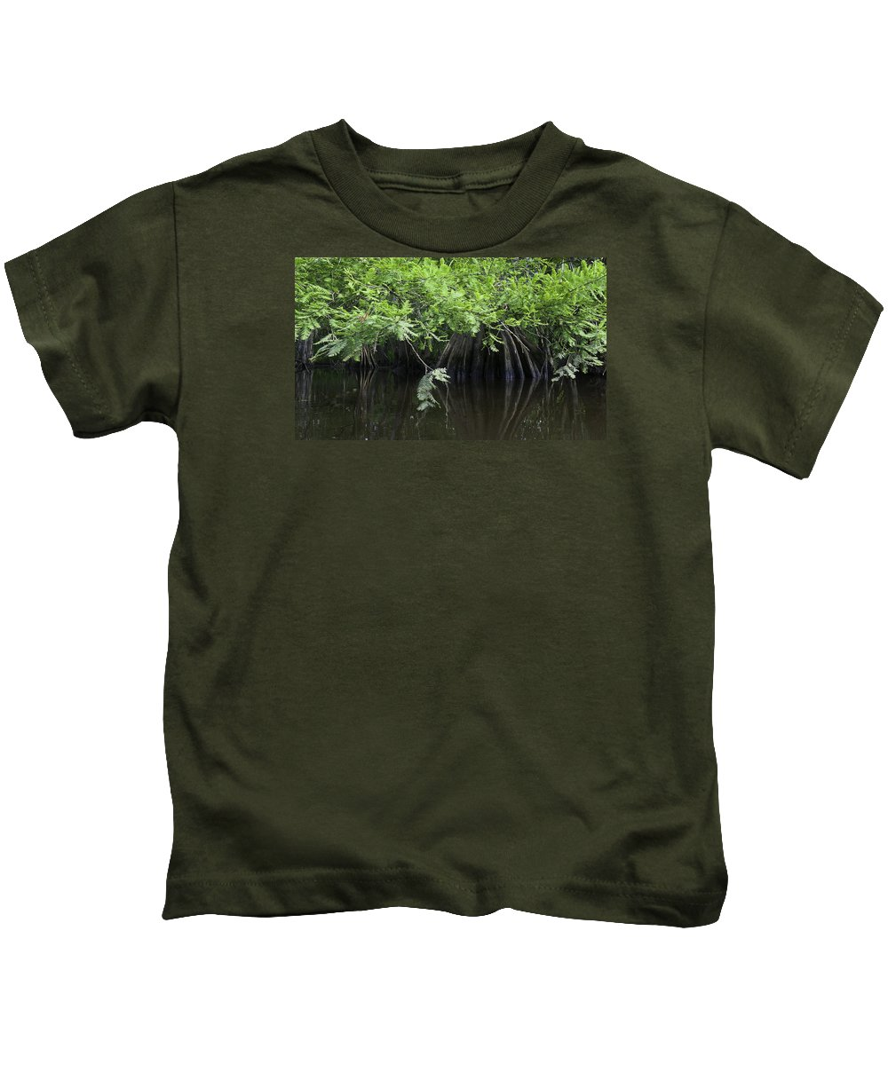 Louisiana Wetlands Kids T-Shirt featuring the photograph Cypress Leaves And Fluted Trunks by Richard Waller