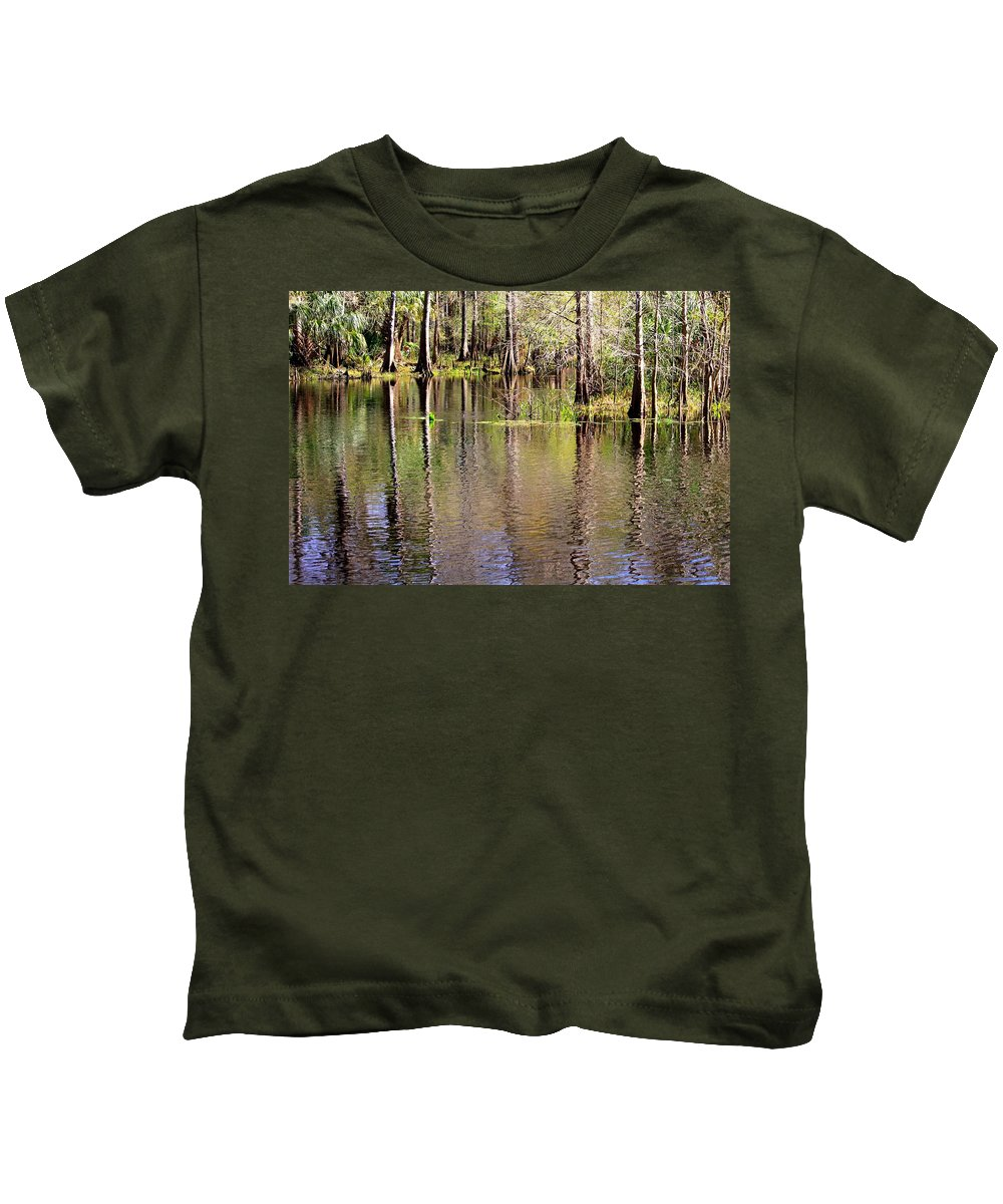 Cypress Trees Kids T-Shirt featuring the photograph Cypress Trees Along The Hillsborough River by Carol Groenen
