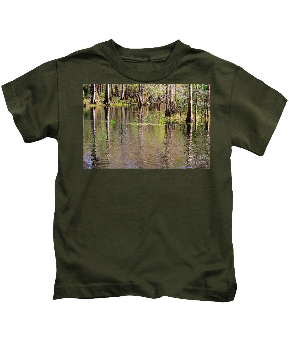 Cypress Trees Kids T-Shirt featuring the photograph Cypresses Reflection by Carol Groenen