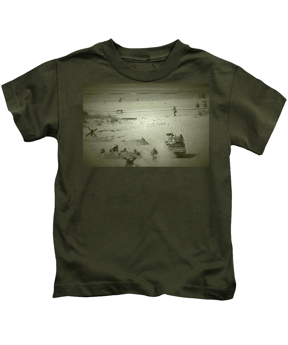 D-day Kids T-Shirt featuring the photograph D-day Reenactment by Stewart Helberg