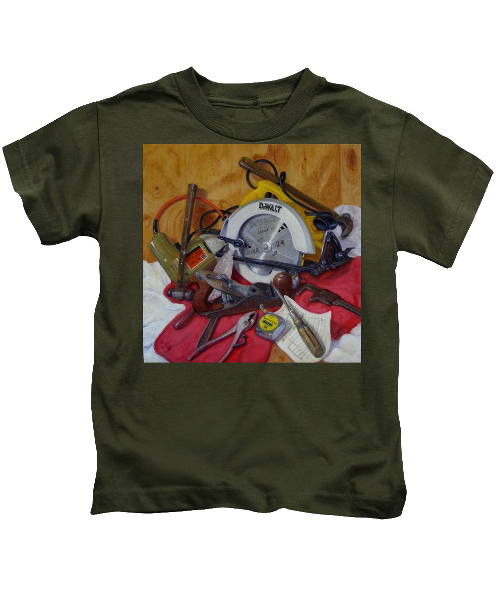 Realism Kids T-Shirt featuring the painting D. I. Y. 2  by Donelli DiMaria