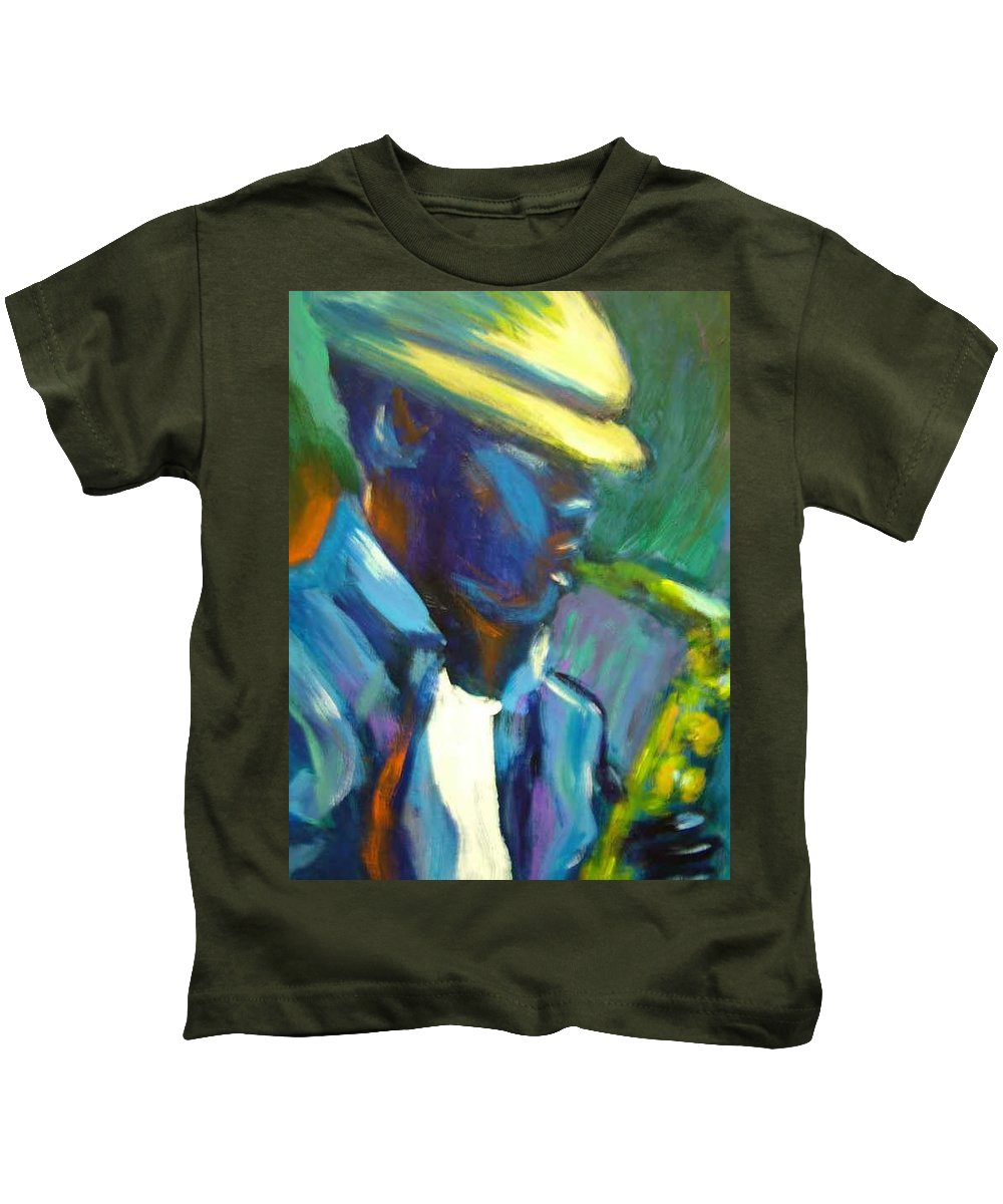 Sax Player Kids T-Shirt featuring the painting D by Jan Gilmore