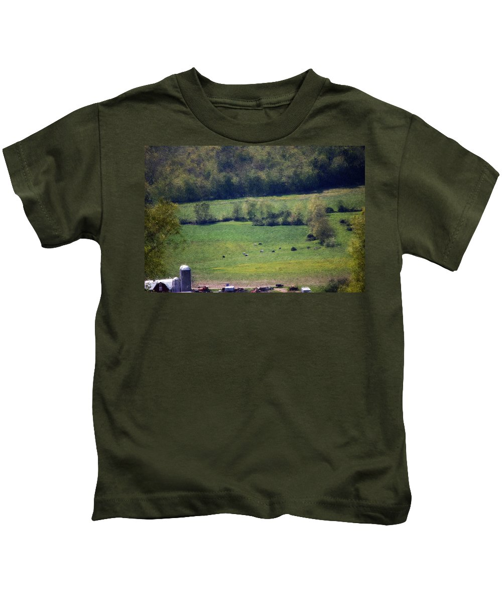 Digital Photo Kids T-Shirt featuring the photograph Dairy Farm In The Finger Lakes by David Lane