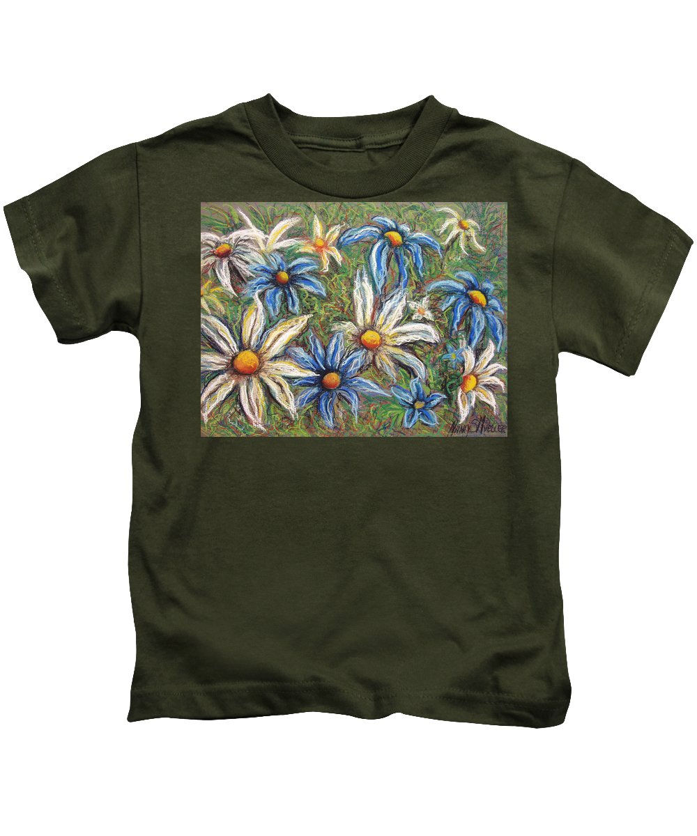Daisies Kids T-Shirt featuring the pastel Daisies Pastel by Nancy Mueller
