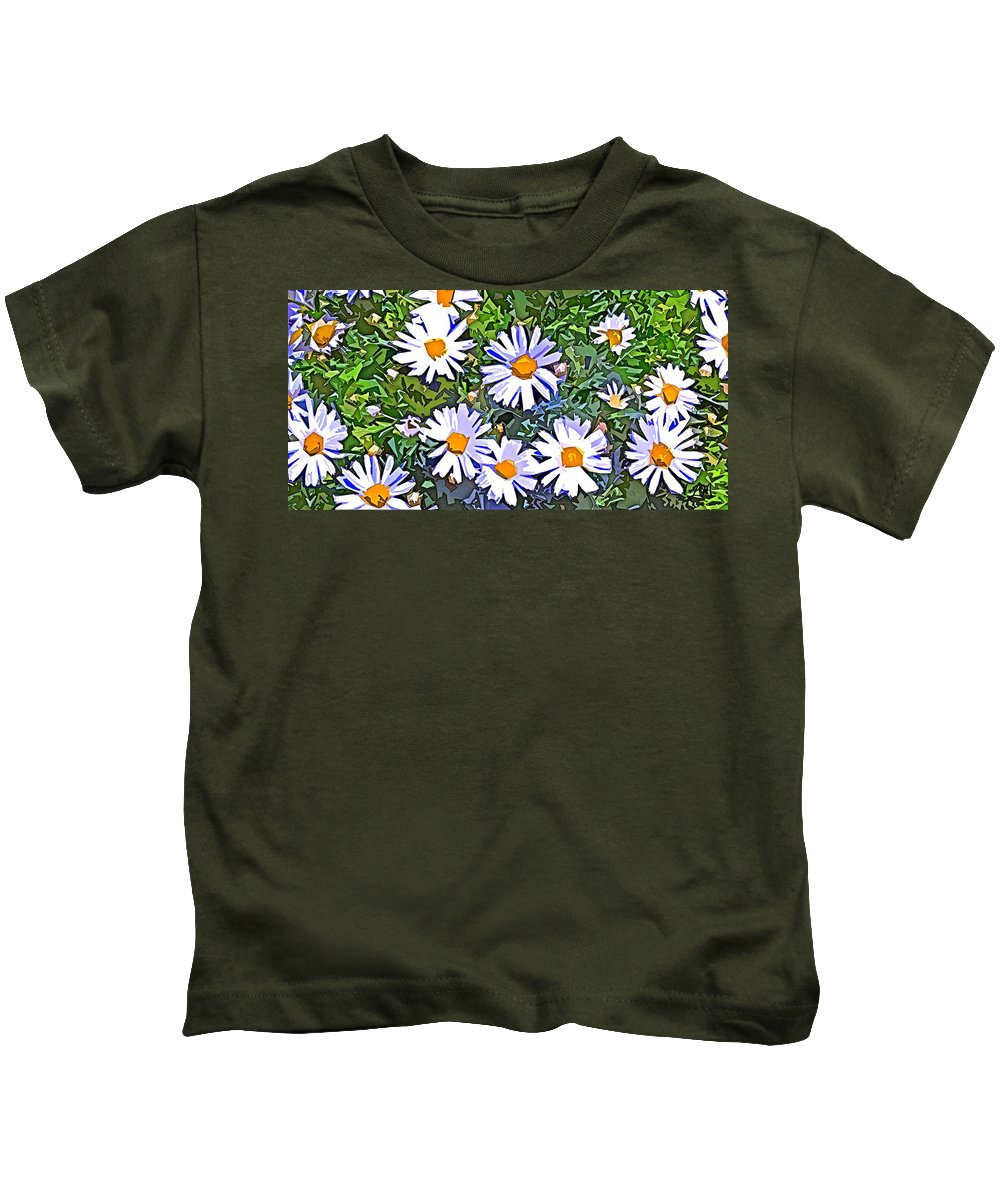 Daisy Kids T-Shirt featuring the digital art Daisy Flower Garden Abstract by Linda Mears