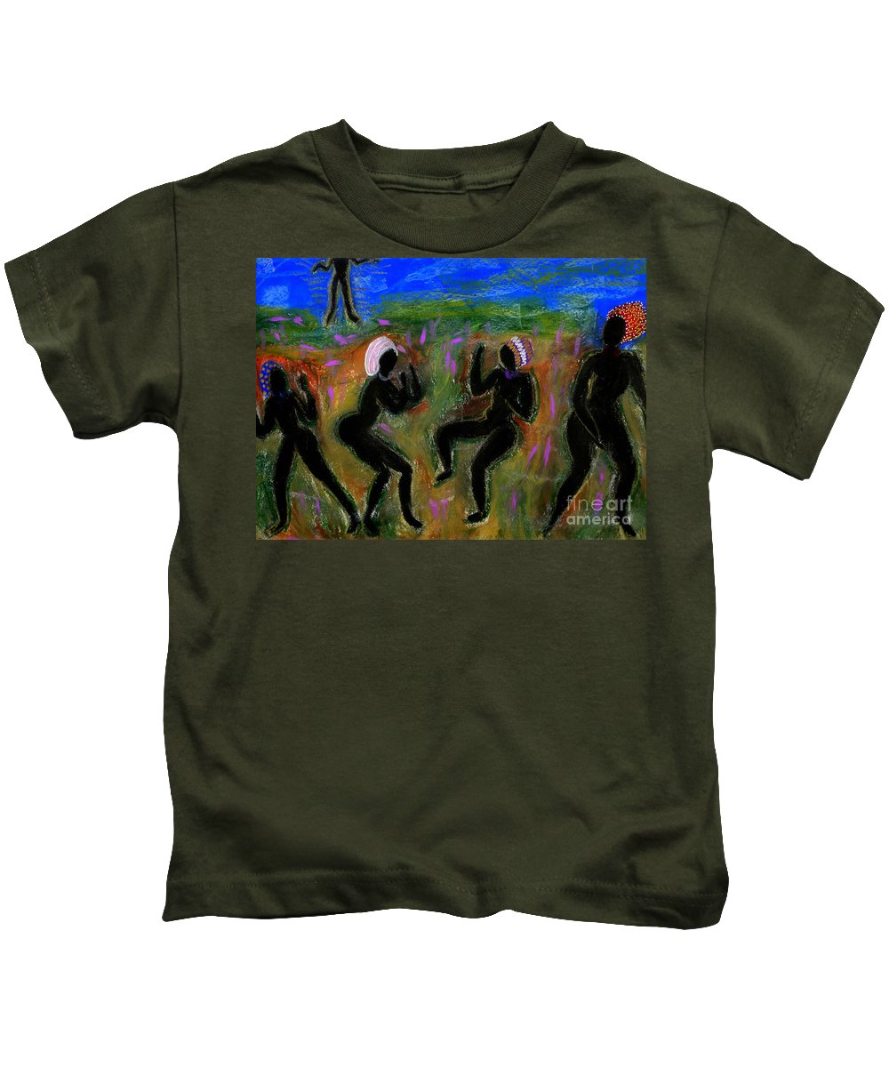 Oil Kids T-Shirt featuring the painting Dancing A Deliverance Prayer by Angela L Walker