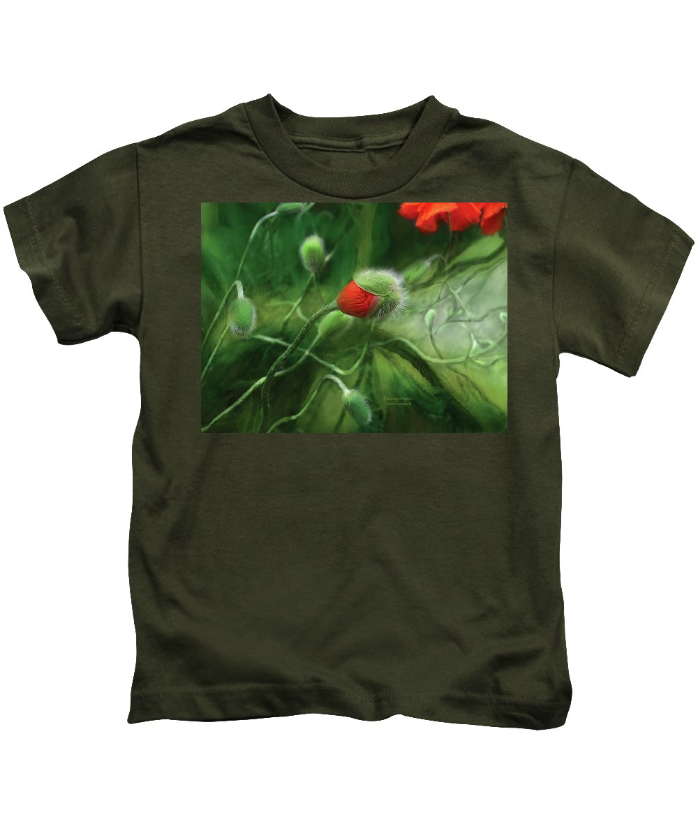 Poppy Kids T-Shirt featuring the mixed media Dancing Poppies by Carol Cavalaris