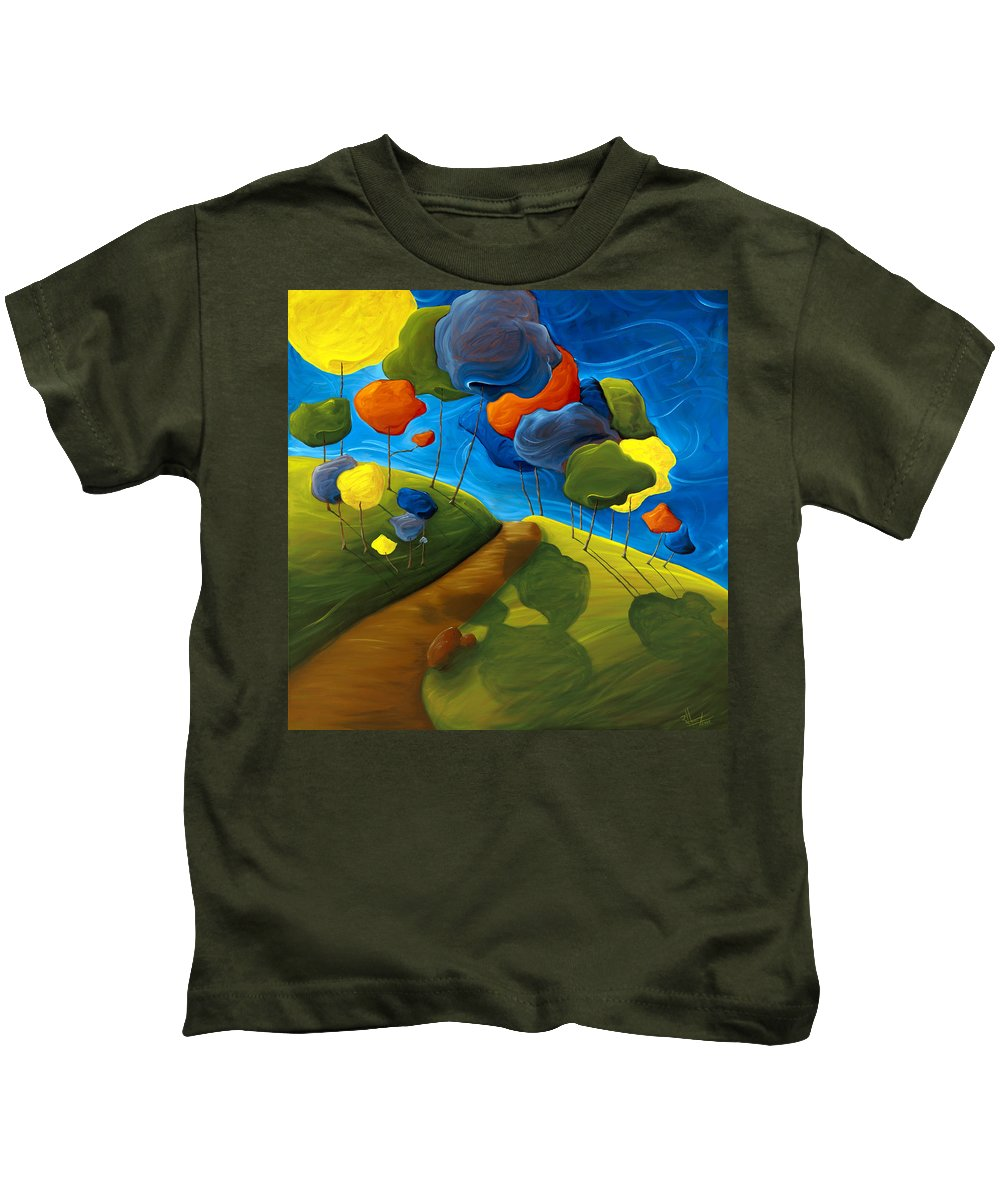 Landscape Kids T-Shirt featuring the painting Dancing Shadows by Richard Hoedl