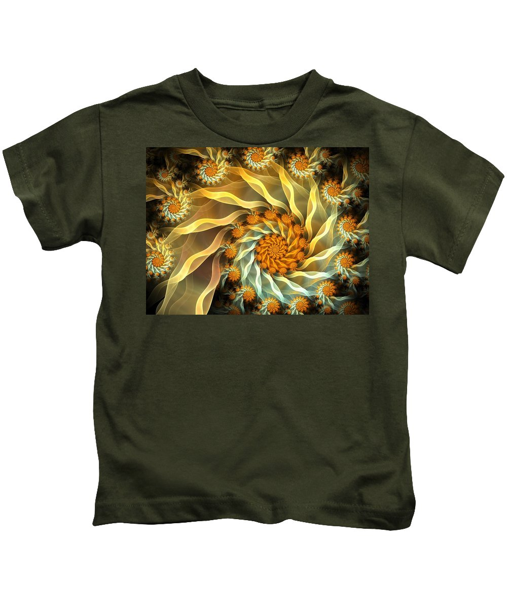 Fractal Kids T-Shirt featuring the digital art Dancing With Daisies by Amorina Ashton