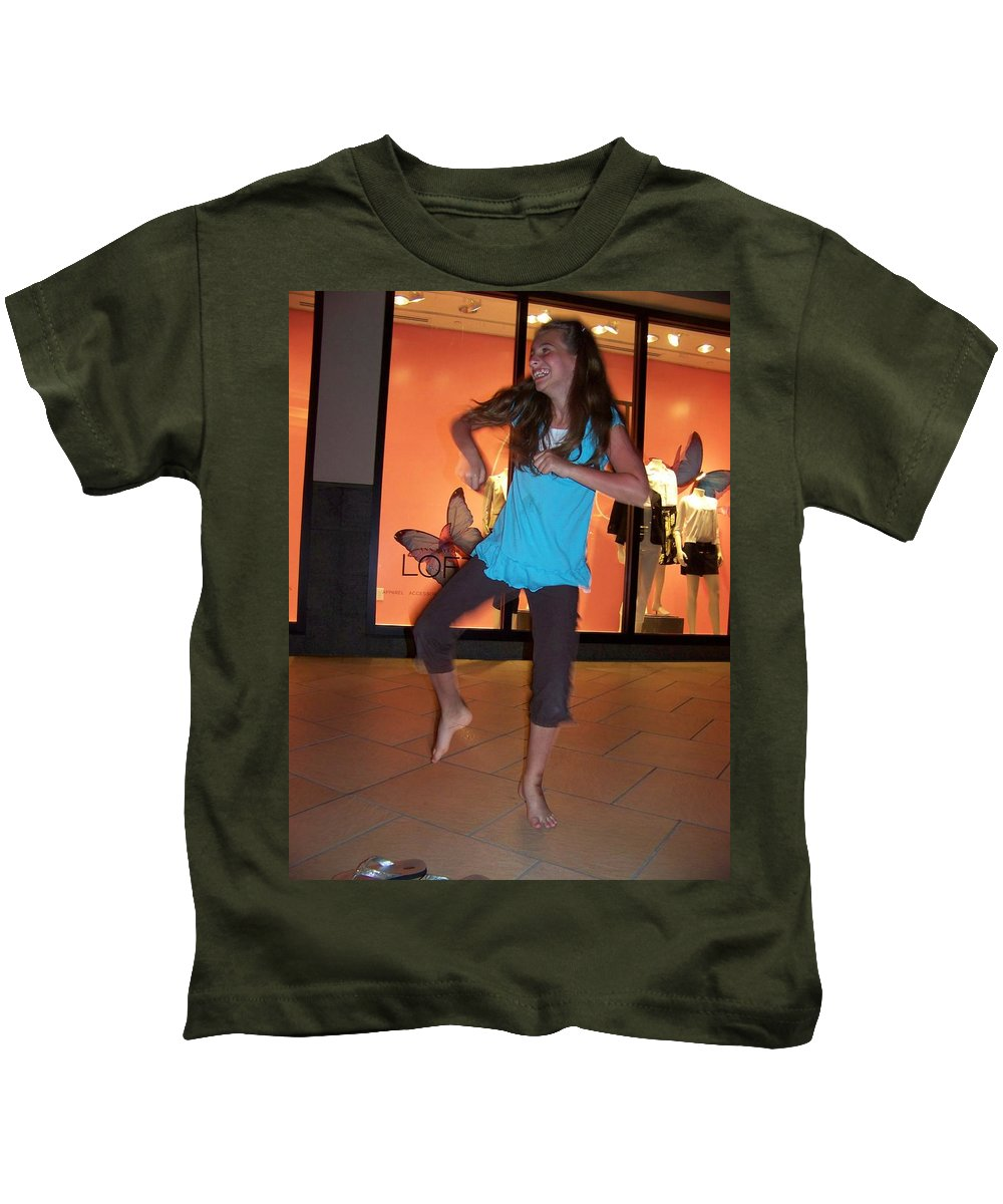 Girl Kids T-Shirt featuring the photograph Dancing Young Girl by Laurie Paci