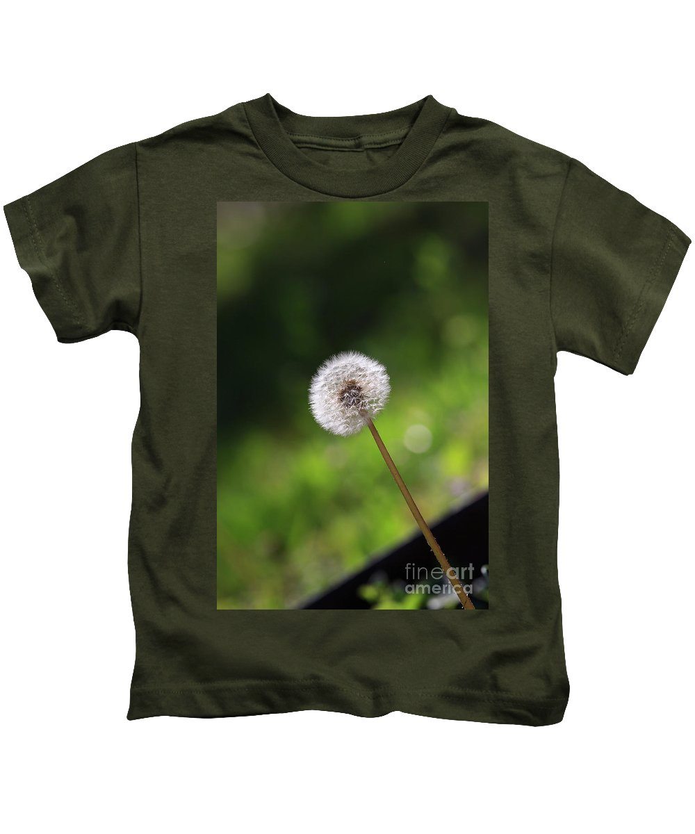 Dandelion Kids T-Shirt featuring the photograph Dandelion In Green by Richie Hamrick