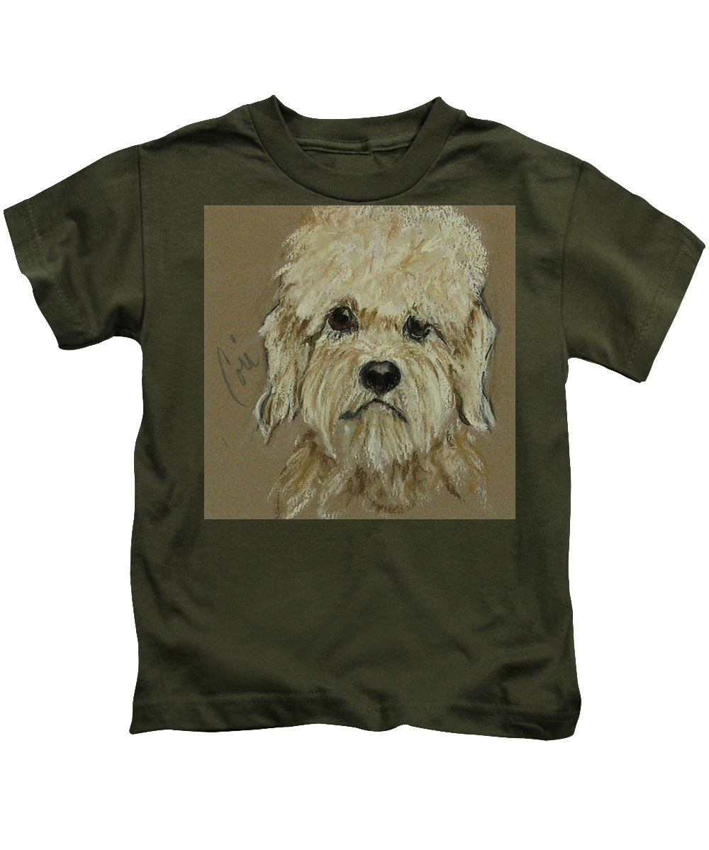 Dandie Dinmont Terrier Kids T-Shirt featuring the drawing Dandie by Cori Solomon