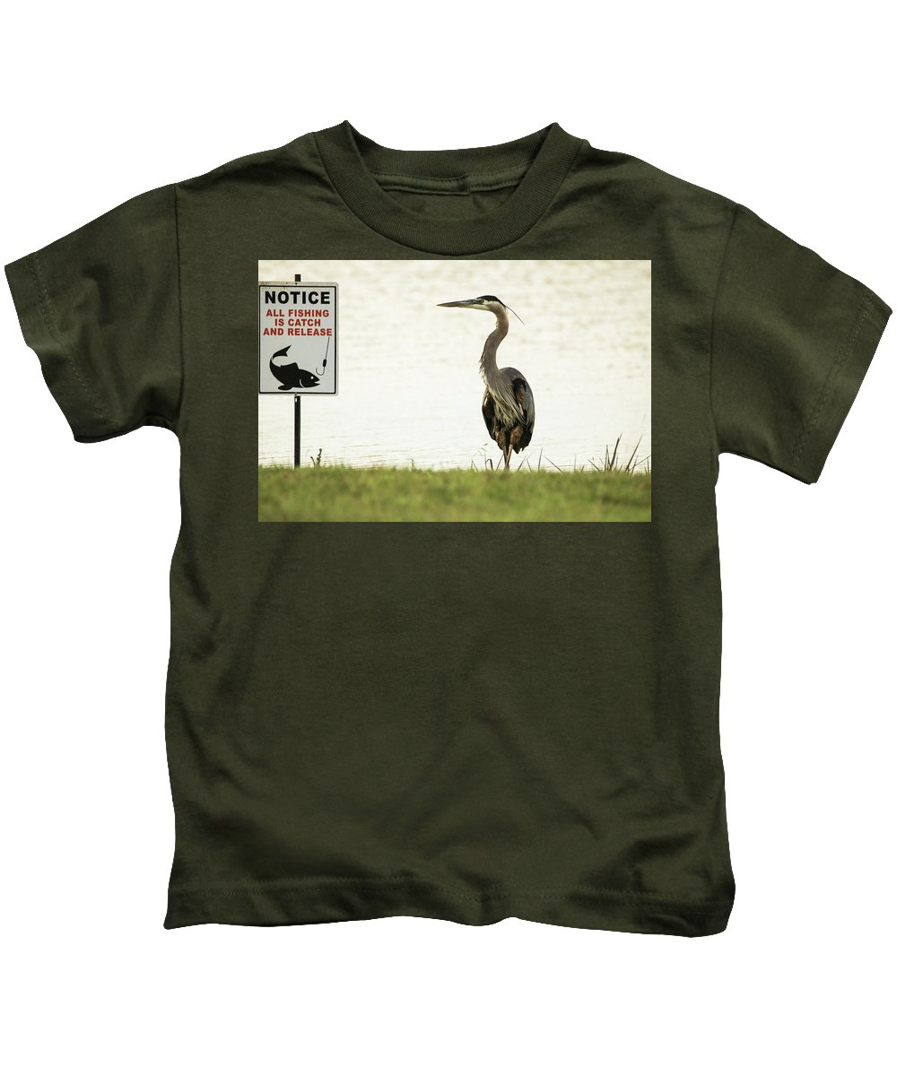 Sign Kids T-Shirt featuring the photograph Dang The Luck by Burge Darwin