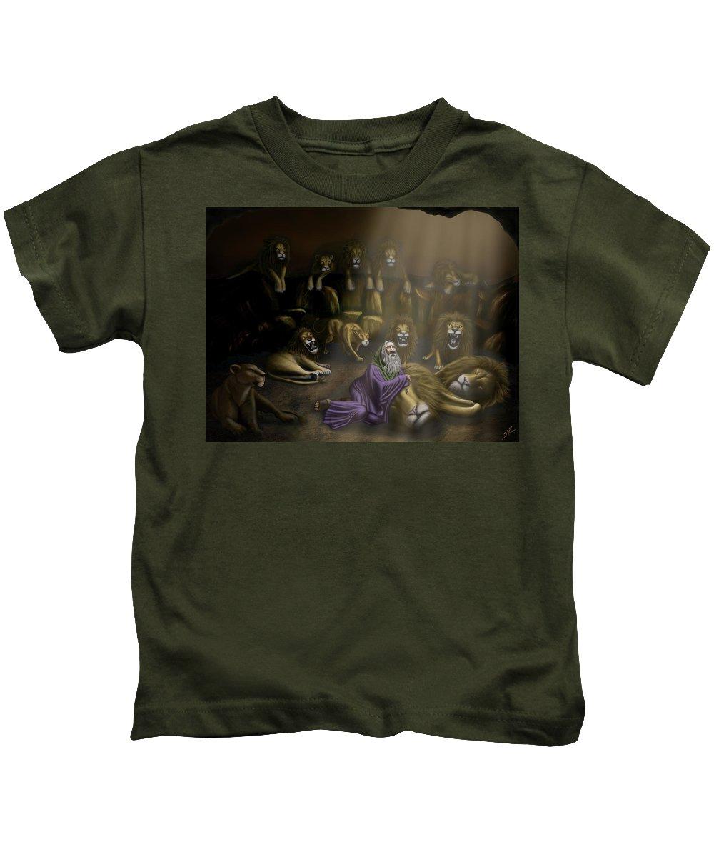 Daniel And The Lions Den Kids T-Shirt featuring the digital art Daniel And The Lions Den by Shane Robinson