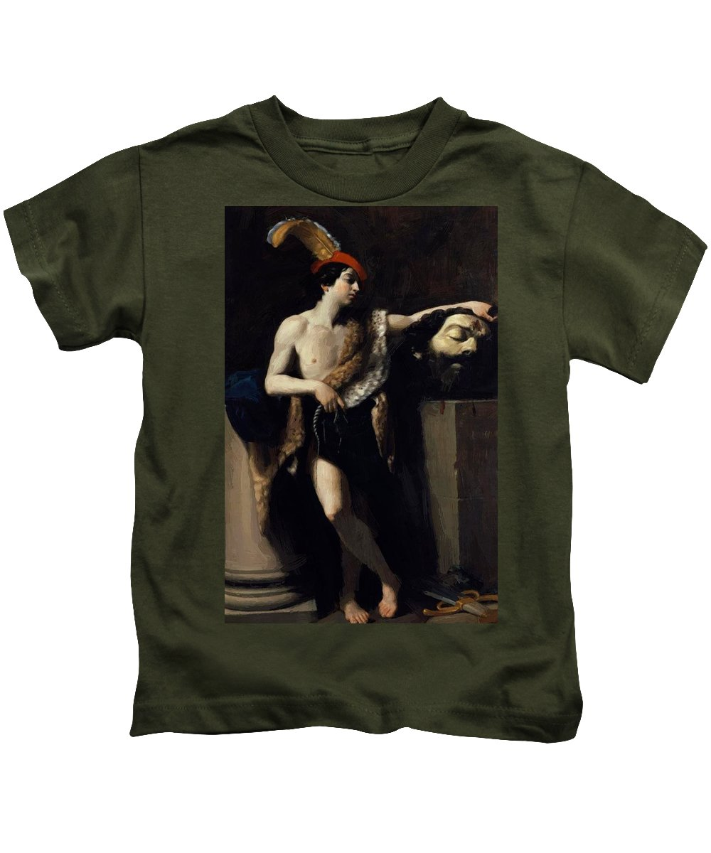 David Kids T-Shirt featuring the painting David With The Head Of Goliath 1606 by Reni Guido