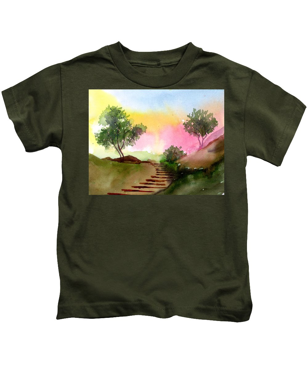 Landscape Kids T-Shirt featuring the painting Dawn by Anil Nene