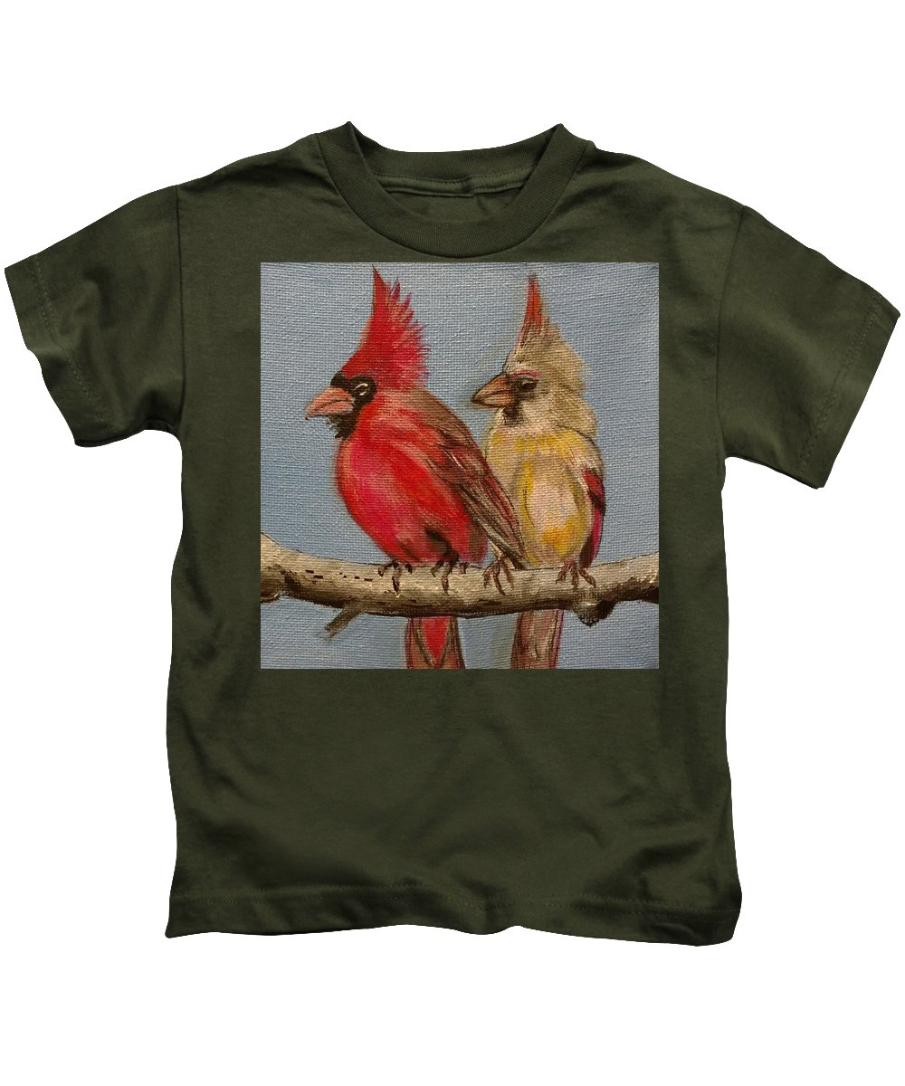 Male And Female Cardinals Perched On A Branch Kids T-Shirt featuring the painting Dawn's Cardinals by Kevin F Bell