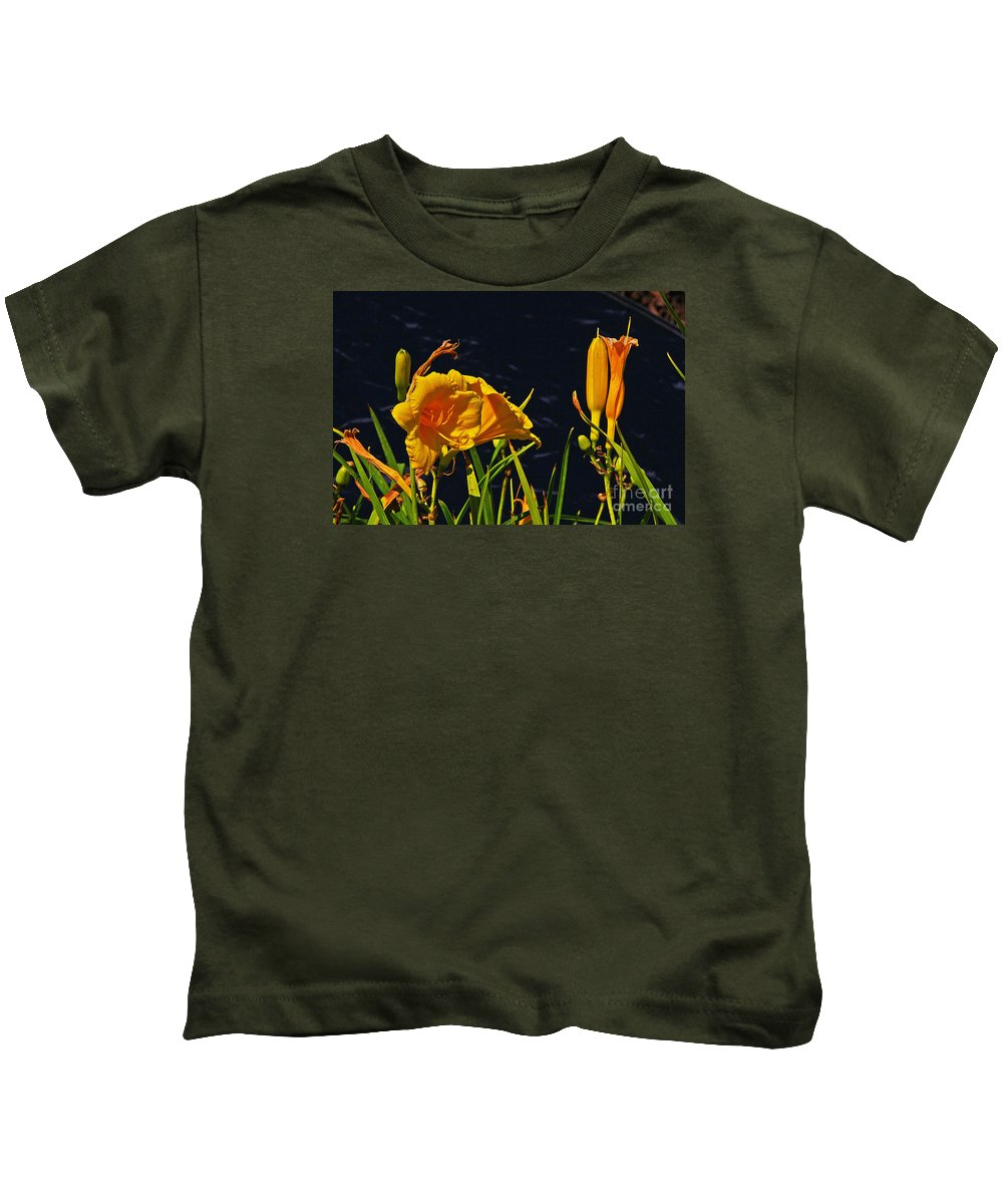 Day Lilies Kids T-Shirt featuring the photograph Day Lilies, Dark, Background by David Frederick