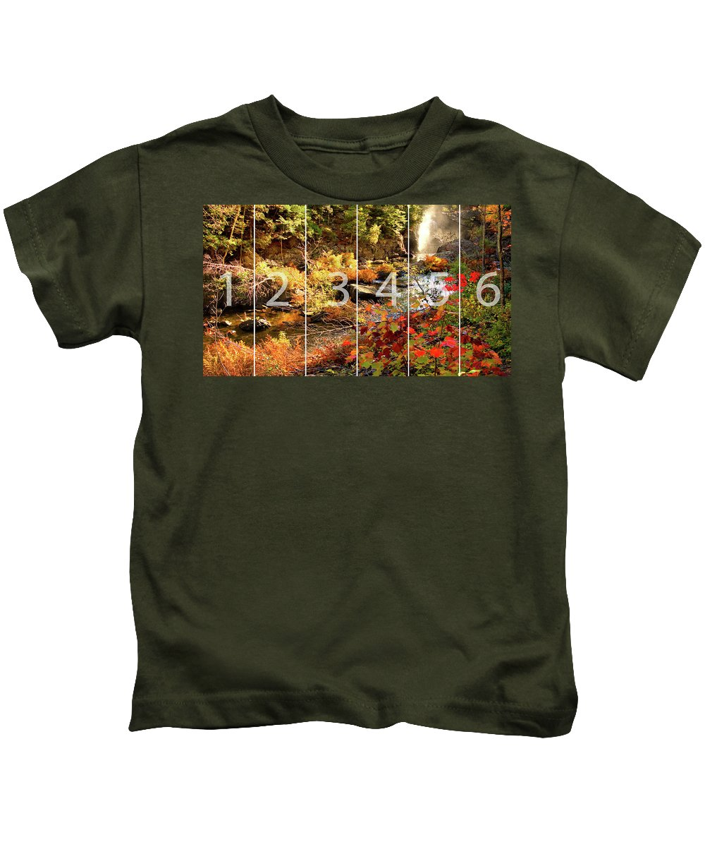 Dead River Falls Kids T-Shirt featuring the mixed media Dead River Falls Marquette Michigan Panoramic Map by Michael Bessler