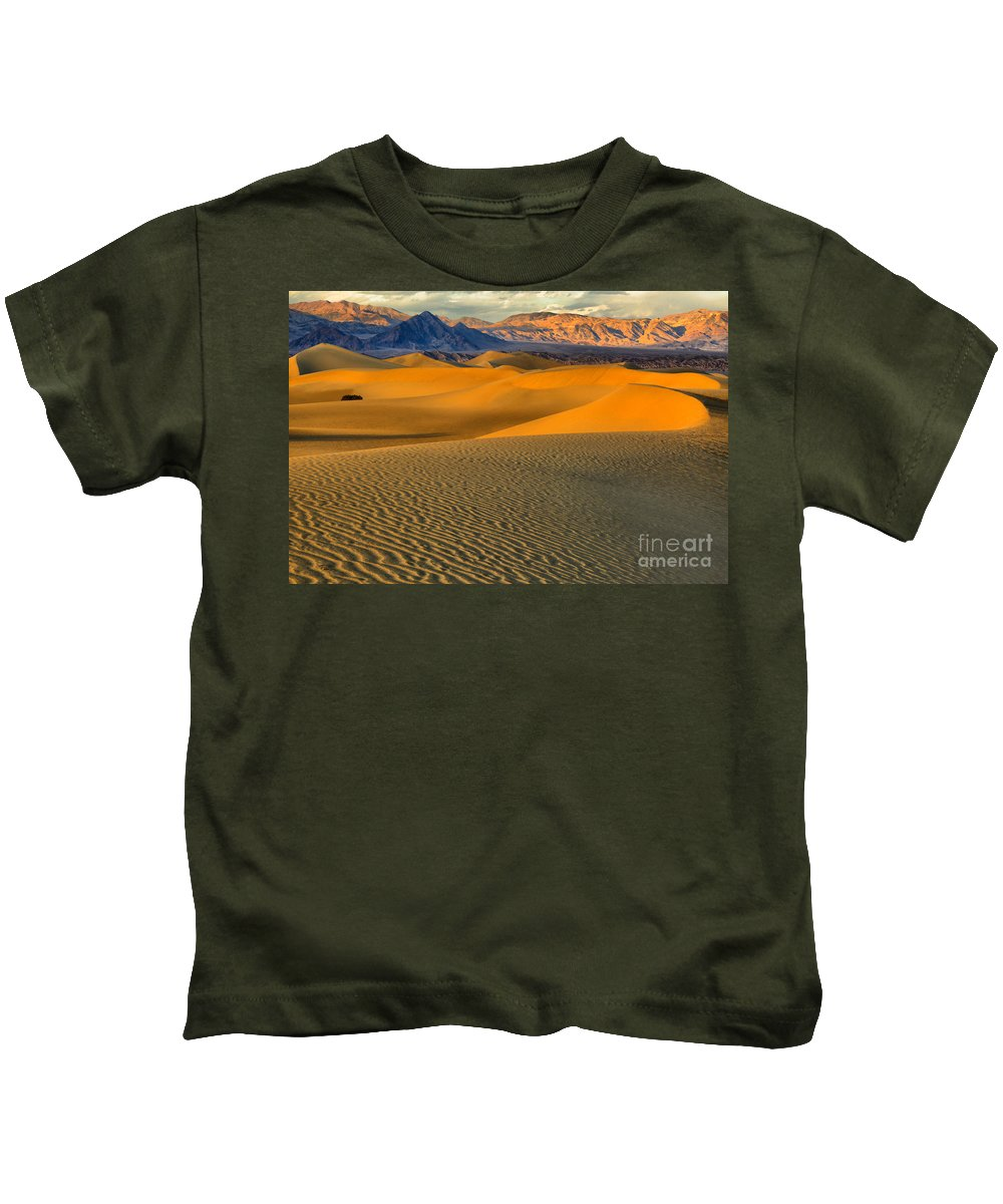 Death Valley Sand Dunes Kids T-Shirt featuring the photograph Death Valley Golden Hour by Adam Jewell