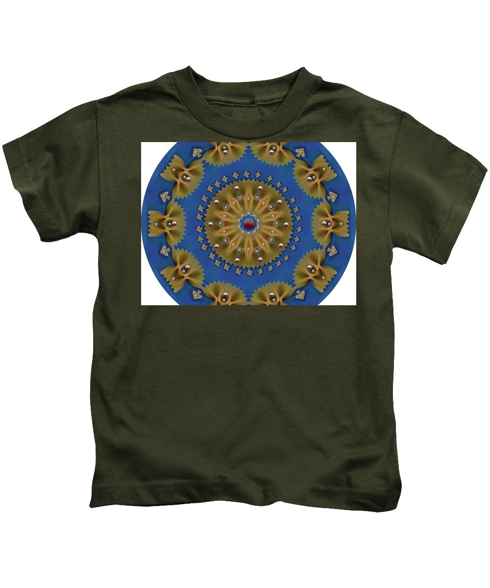 Pasta Kids T-Shirt featuring the mixed media Decorative Pasta Collage by Pepita Selles