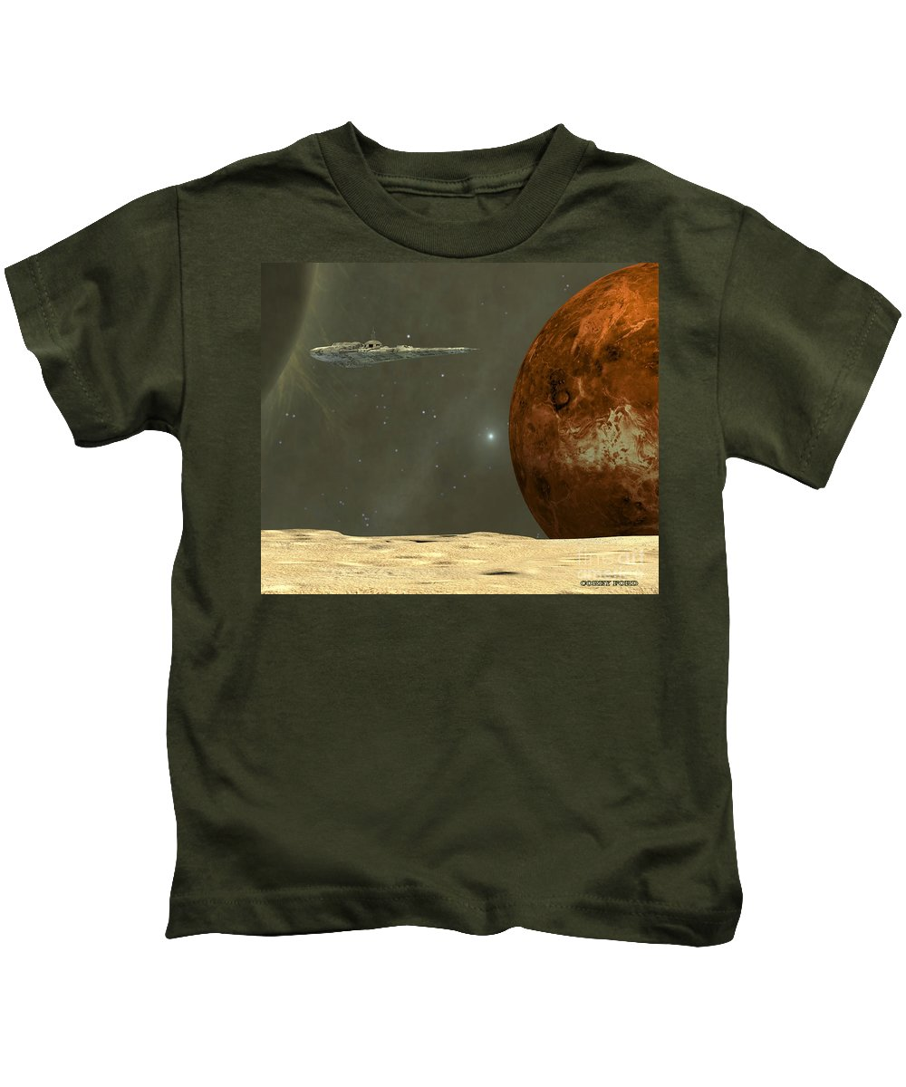 Mercury Kids T-Shirt featuring the painting Deep Space by Corey Ford