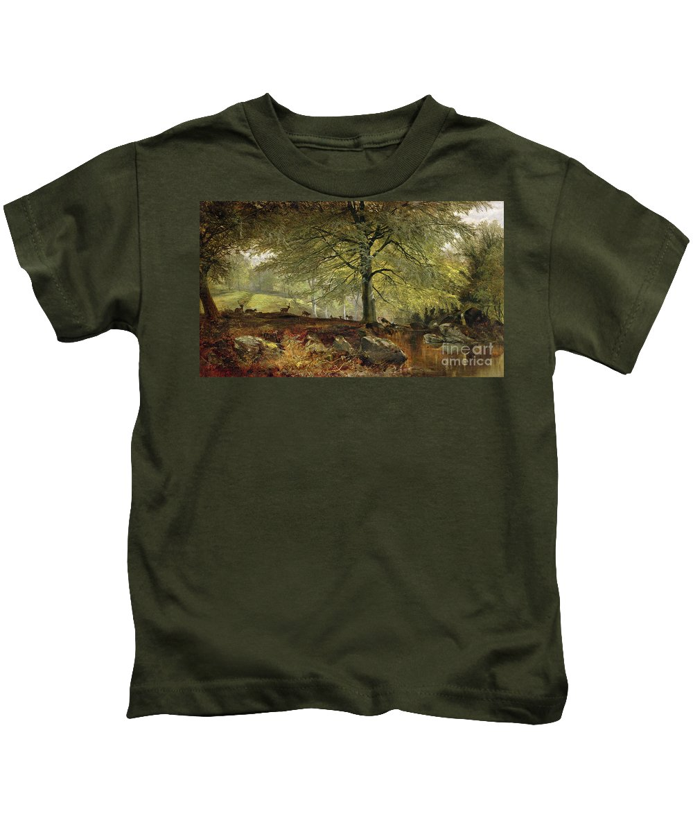 Deer Kids T-Shirt featuring the painting Deer In A Wood by Joseph Adam