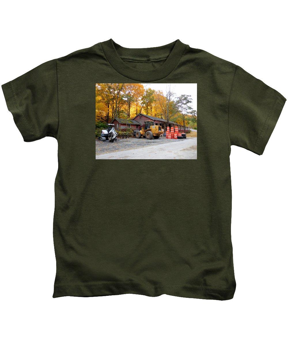 Deer Tractor Kids T-Shirt featuring the painting Deer Tractor by Jeelan Clark