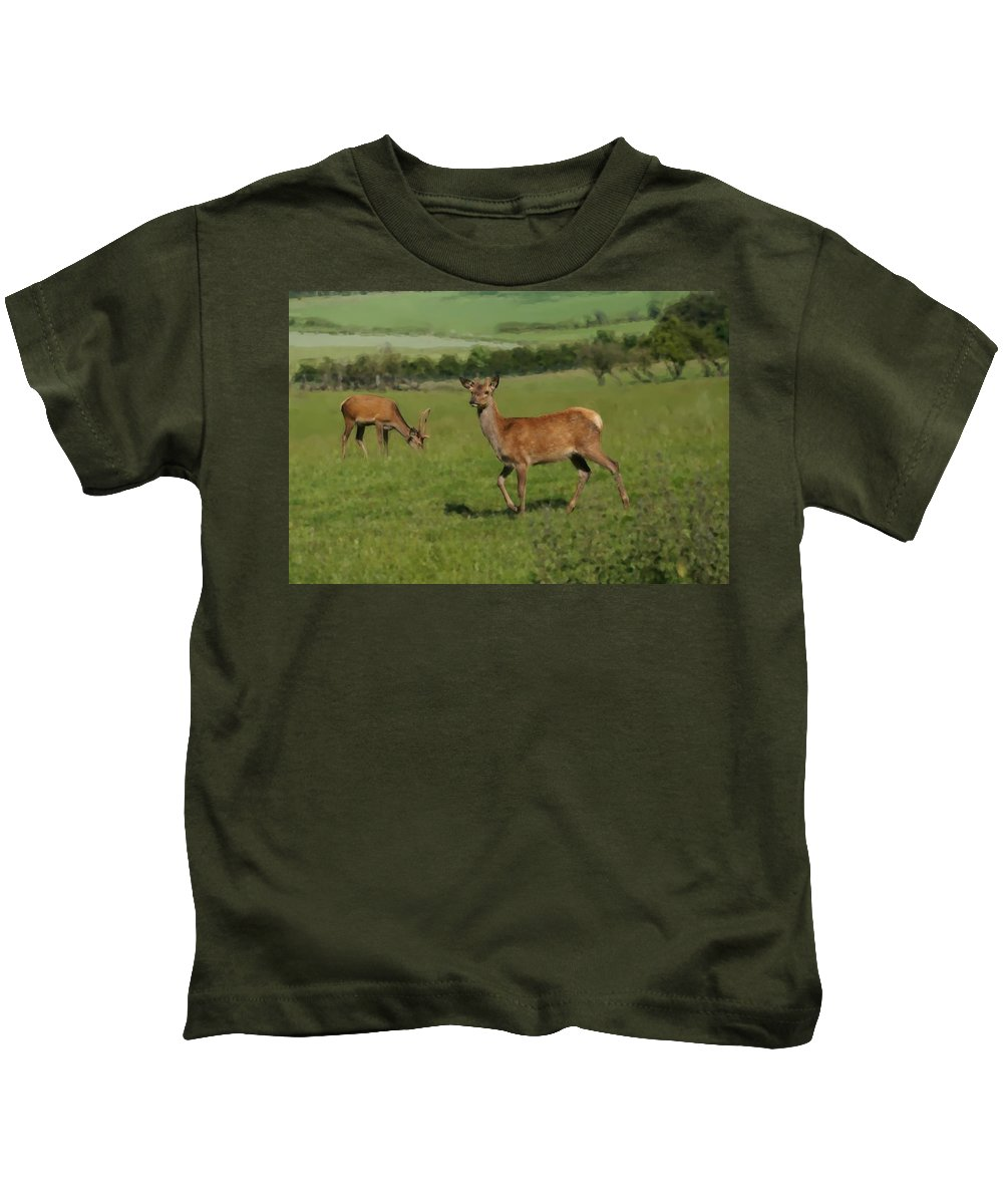 Deer Kids T-Shirt featuring the photograph Deers On A Hill Pasture. by Elena Perelman