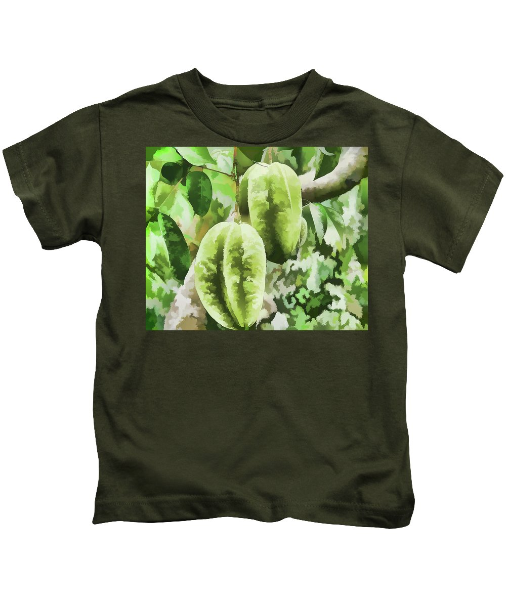 Star Apple Fruit On The Tree Kids T-Shirt featuring the painting Delicious Star Fruit by Jeelan Clark