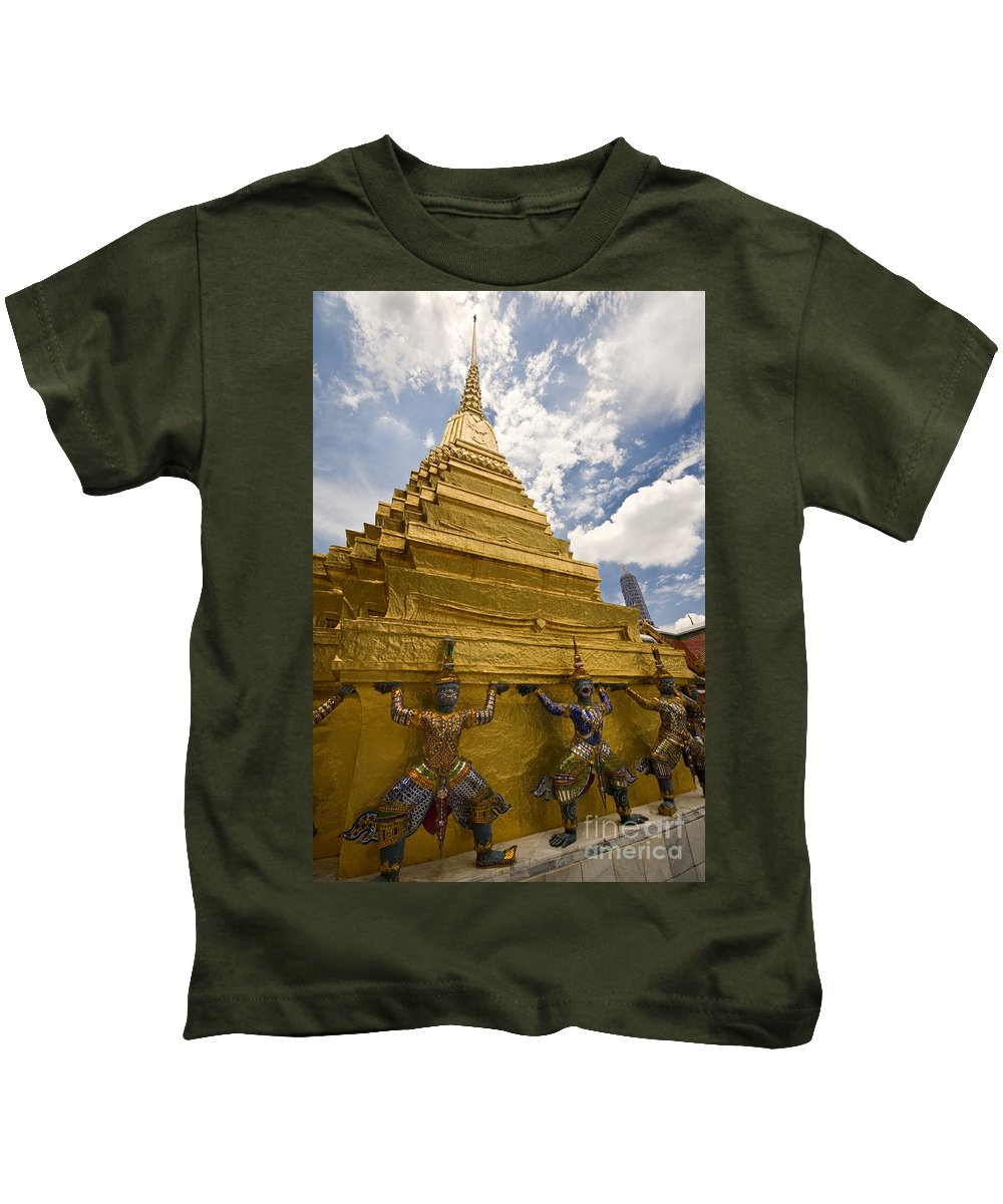 Demon Guards Kids T-Shirt featuring the photograph Demon Guards Grand Palace Bangkok by Charuhas Images
