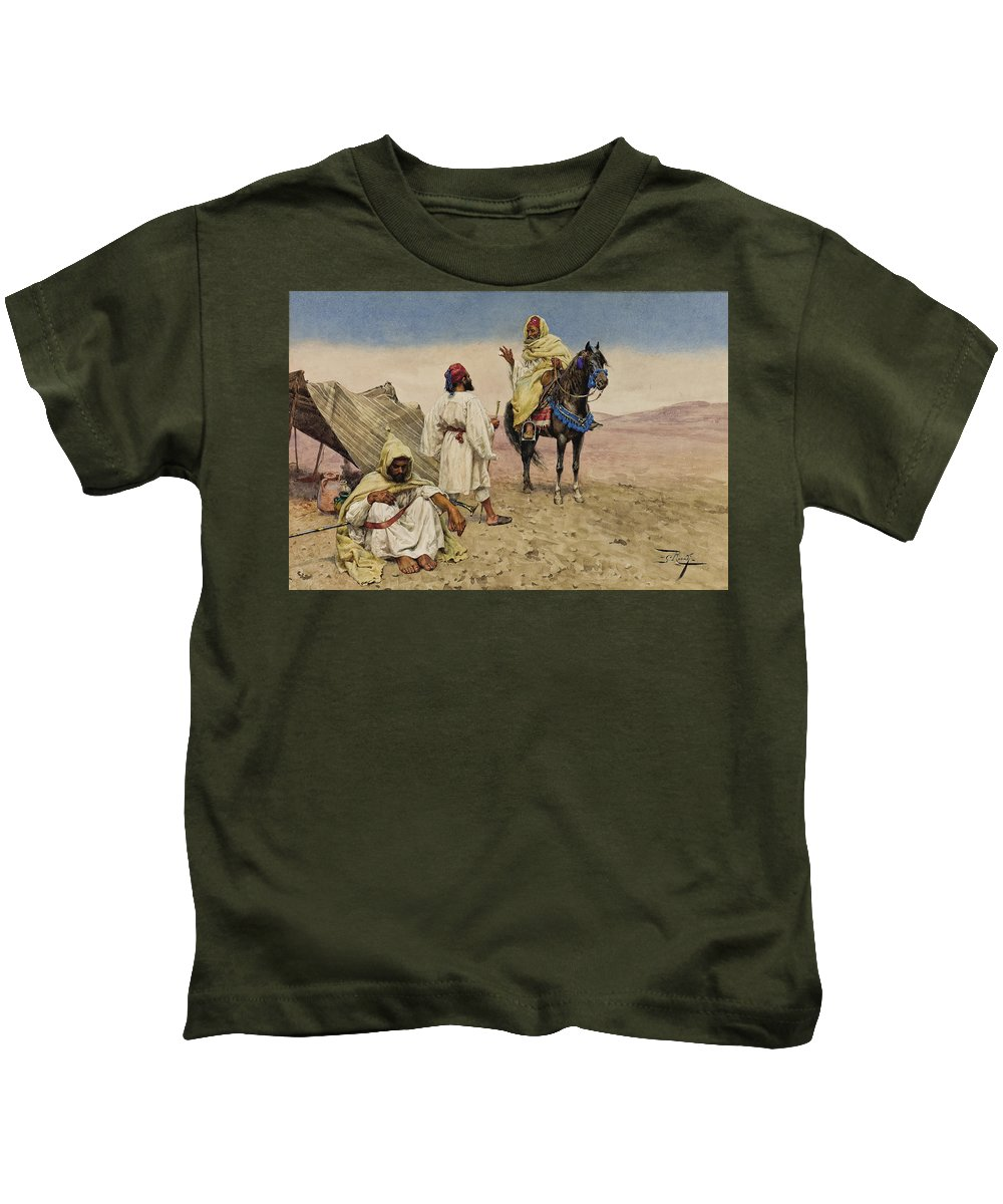 Giulio Rosati Kids T-Shirt featuring the drawing Desert Nomads by Giulio Rosati